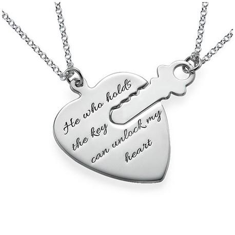 """Srebrna verižica 2x """" Srce in ključ"""""""