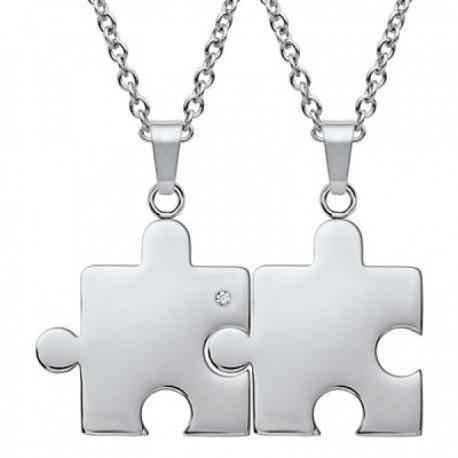 "Srebrna verižica 2x "" Puzzle"""