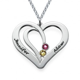 """Srebrna verižica """"Srce Ime + Kristal"""""""