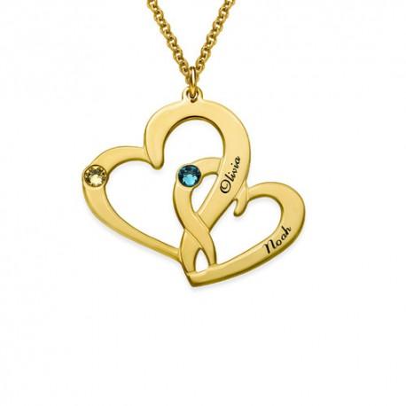 "Zlata verižica "" Dve srci + kristal2"""