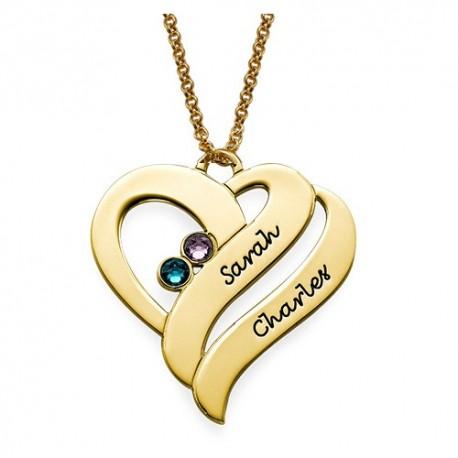 """Zlata verižica """" Dvojno srce+kristal"""""""