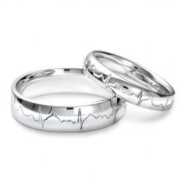 """Srebrn prstan """"Utrip srca2"""" za oba"""