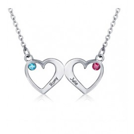 "Srebrna verižica "" Dve srci+kristal"""