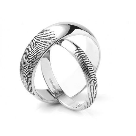 """Srebrni prstan """"2x prstni odtis"""" zanjo in zanj"""