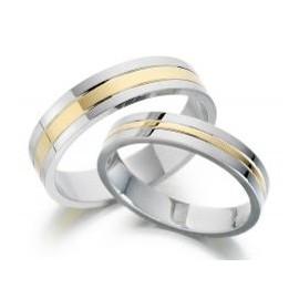 Srebrna prstana s pozlato zanjo in zanj