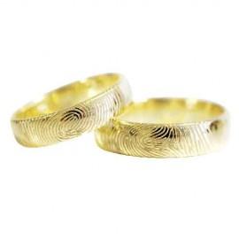 """Srebrna prstana s pozlato """"prstni odtis"""" zanjo in zanj"""
