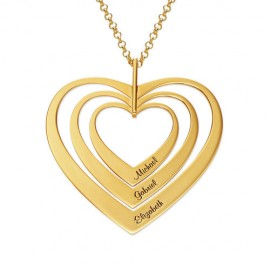 """Zlata verižica """" 3x srce z gravuro"""""""