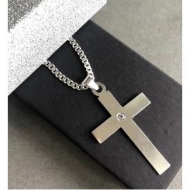 """Srebrna verižica """"Križ s kristalom"""""""