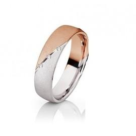 Srebrn prstan s pozlato rose