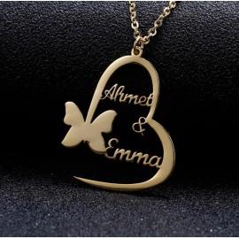 """Zlata verižica """"Srce in metulj z imeni"""""""