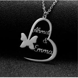 Srebrna verižica Srce in metulj z imeni