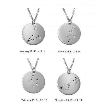 "Srebrna verižica "" Astrološka znamenja s kristalčki"""